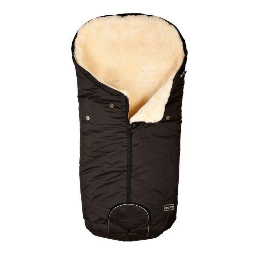 Lammeskinnspose, Korthåret, Bozz, Sort/natur skinn