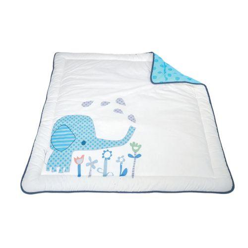 Babydan leketeppe, Elefantastic blue, 110x110 cm