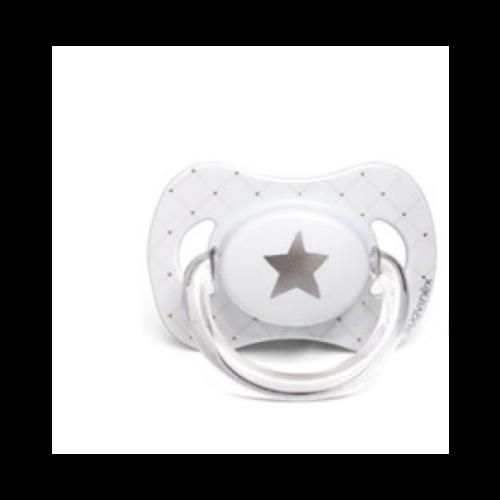 Smokk, Suavinex - Hvit Med Stjerne, Lateks 6-18mnd