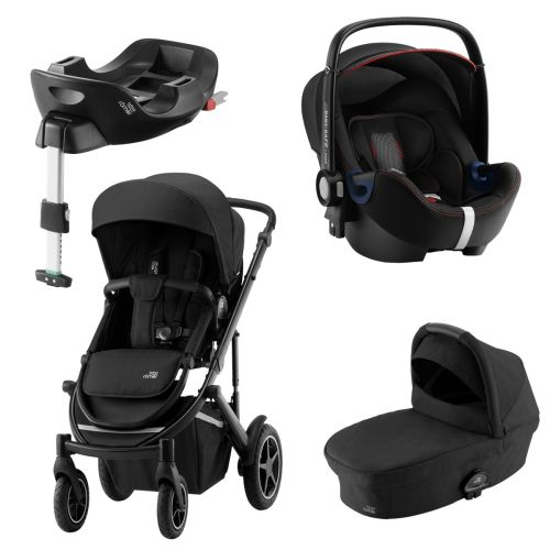 Premiumpakke, Britax Smile III, Space Black Ink. Bagdel + Bilstol Babysafe2, CoolFlow Black ink. Base