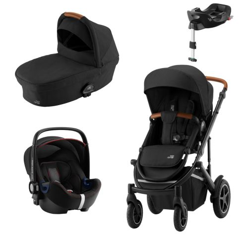 Premiumpakke, Britax Smile III, Space Black Brown Ink. Bagdel + Bilstol Babysafe2, CoolFlow Black ink. Base