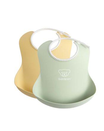 Babybjørn smekke 2 pk., pastelgul/pastelgrønn
