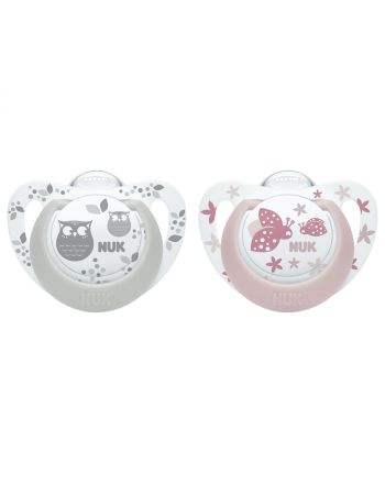 NUK Smokk, Pacifier Genius Grey/Rose 2pk, 6-18 mnd