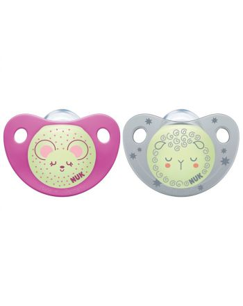 NUK Smokk,Pacifier Night/Day, Silicon Pink/Grey - 6-18 mnd