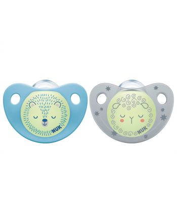 NUK Smokk,Pacifier Night/Day, Silicon Blue/Grey - 6-18 mnd