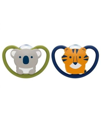 NUK Smokk,Pacifier Space Koala/Tiger 2pk, 6-18 mnd