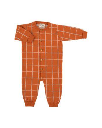 Voksi Wool, Strikket Mønster Jumpsuit, Warm Orange