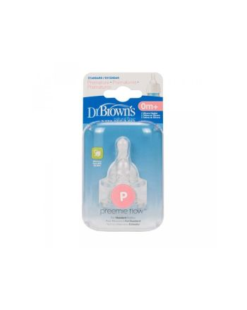 Prematur silikon flaskesmokk, Dr.Brown, Option standard, 2 pk.