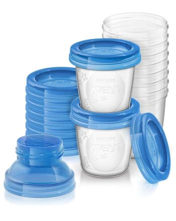 Oppbevaringsbeger for brystmelk inkl. adapter, Avent, 10 pk.