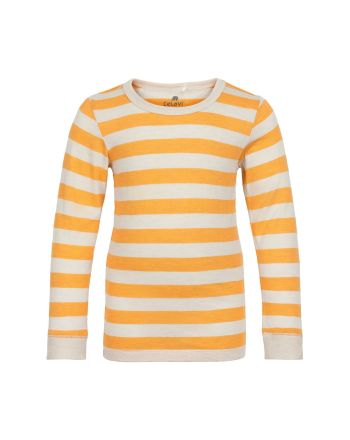 Celavi - Stripet Genser - Mineral Yellow