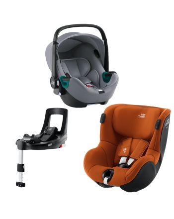 Premium Bilstolpakke, Britax, BabySafe iSense + Dualfix iSense + iSense Base, FrostGrey/Cognac