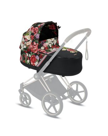 Cybex, Priam Lux Carry Cot, Spring Blossom, Dark Black
