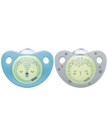NUK Smokk,Pacifier Night/Day, Silicon Blue/Grey - 0-6 mnd