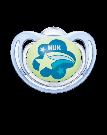 NUK, Smokk Night & Day Silicon - Blue 0-6mnd, 2pk