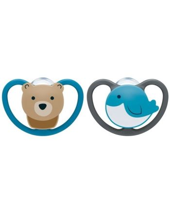 NUK Smokk,Pacifier Space Bear/Whale 2pk, 0-6 mnd