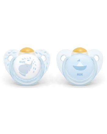 NUK, Trendline Silicon Smokk 2 pk - Baby Blue, 0-6 mnd
