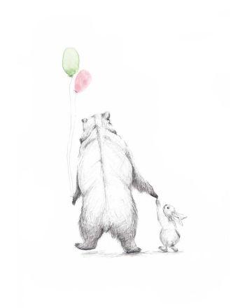 Poster, Tails, Bjørnen og kaninen, 21x30 cm