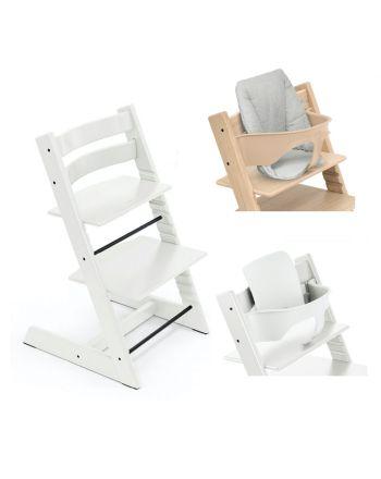 Pakke, Stokke Tripp Trapp Hvit, Ink Baby Set + Babypute, Nordic Grey